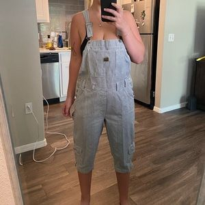 Vintage Cropped Pinstriped Overalls